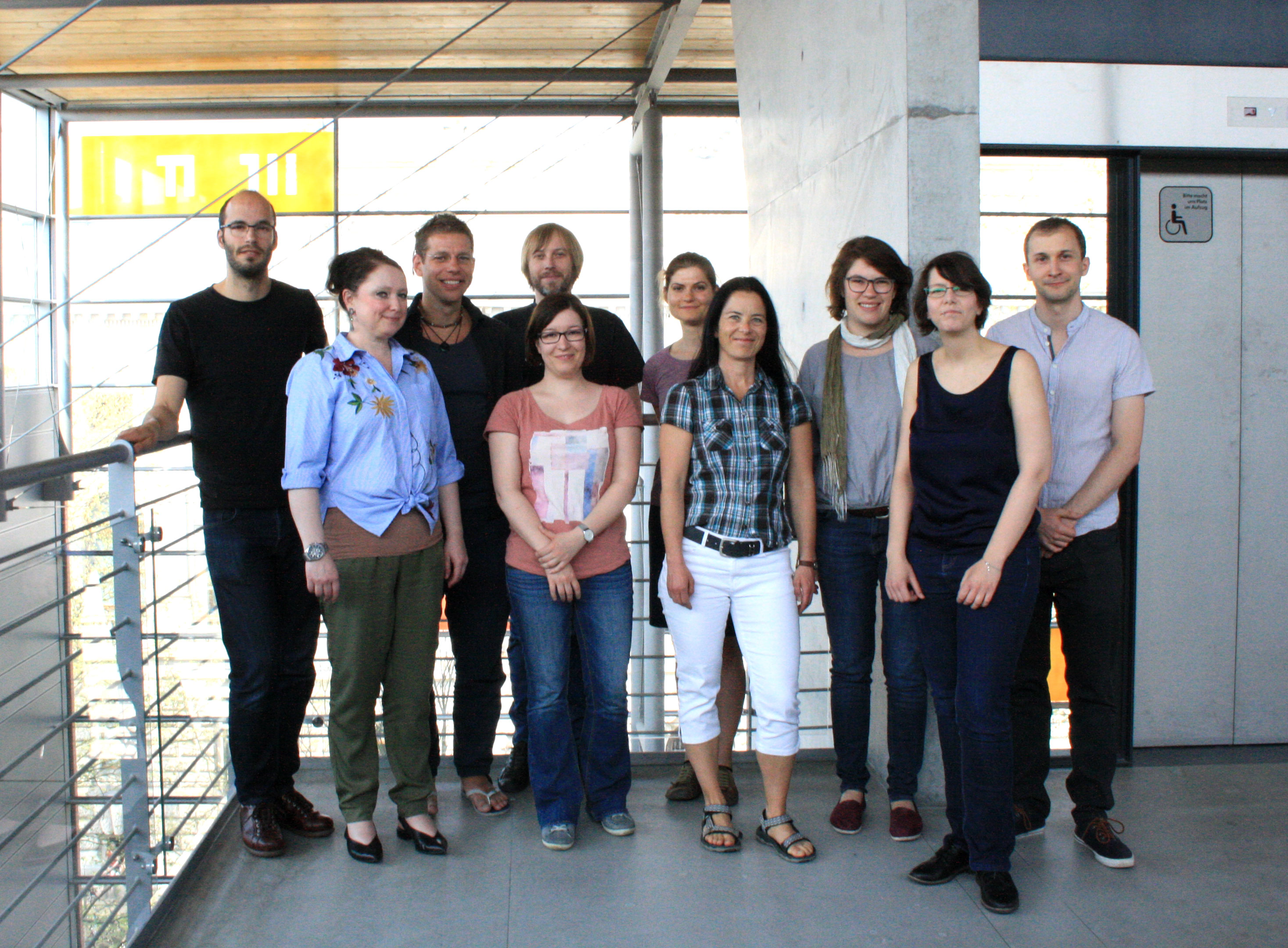 The first workshop's participants: James Dorson, Christina Meyer, Sebastian M. Herrmann, Sebastian Domsch, Katharina Gerund, Michaela Beck, Katja Kanzler, Regina Schober, Gesine Wegner, and Stefan Schubert (left to right)